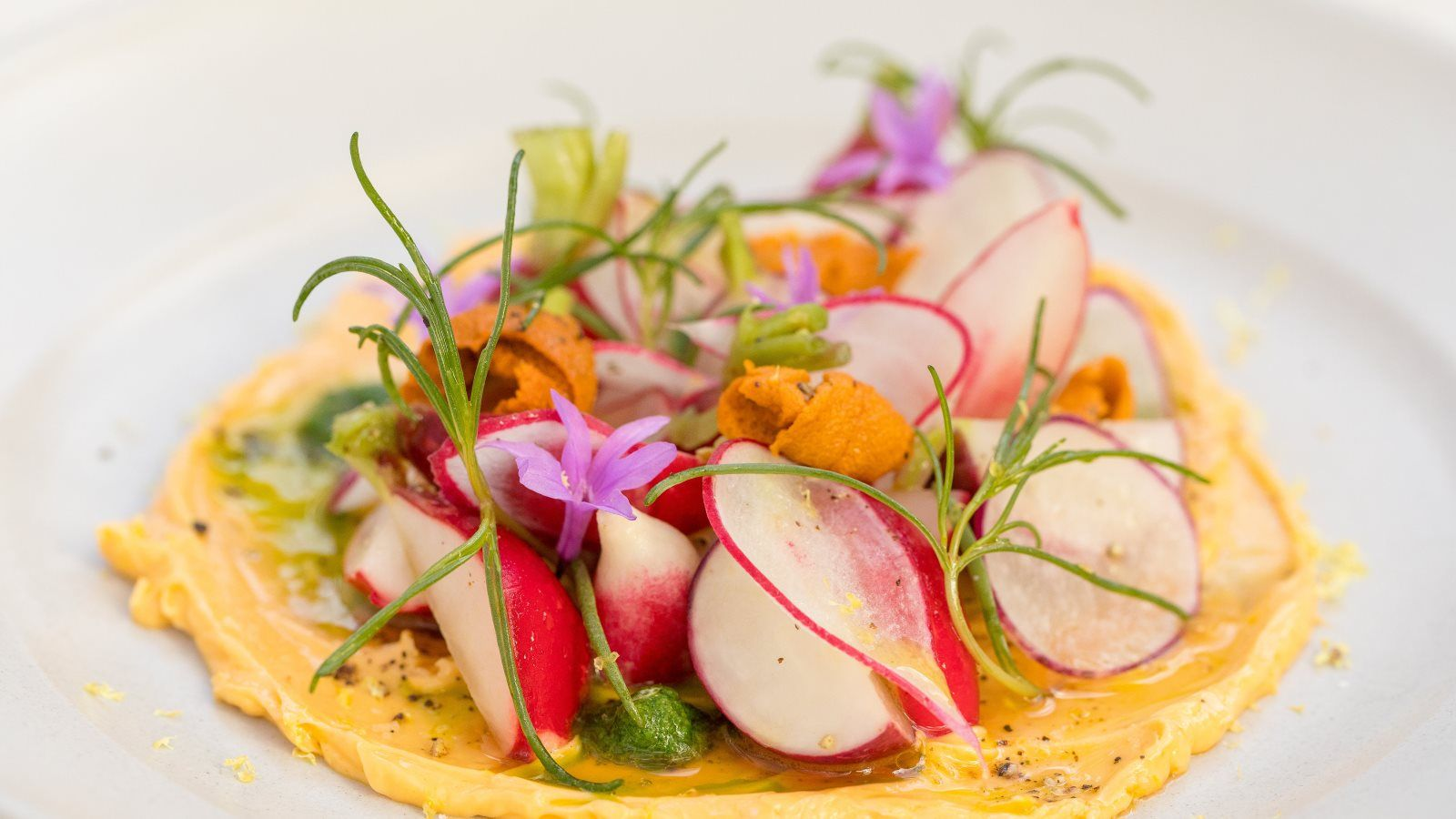 Local Radishes, a dish at Acacia House at Las Alcobas - Explore Media Coverage on Our Press Page